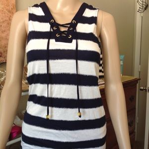 Navy blue and white MK striped tank top nwot